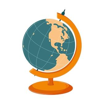 Globo de alunos da américa do sul e do norte. equipamento escolar de geografia. planeta terra.