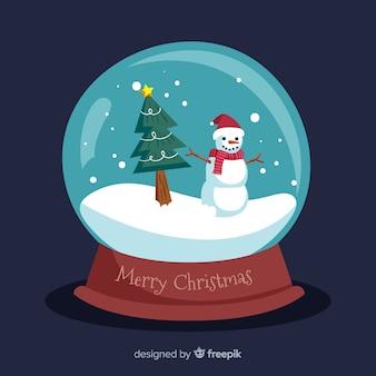Globo de bola de neve com boneco de neve