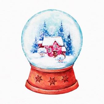 Globo de bola de neve de natal com ilustração em aquarela