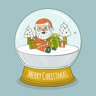 Globo de bola de neve de natal com papai noel