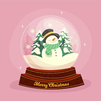 Globo de bola de neve de natal de design plano com boneco de neve e árvores