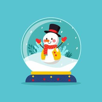 Globo de bola de neve de natal de design plano com boneco de neve sorridente