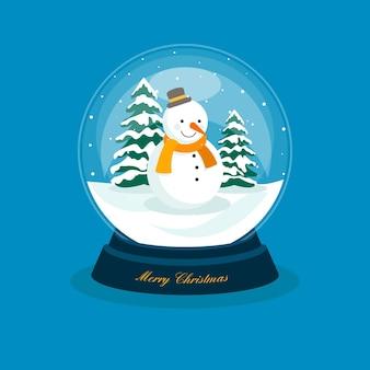 Globo de bola de neve de natal de design plano com boneco de neve
