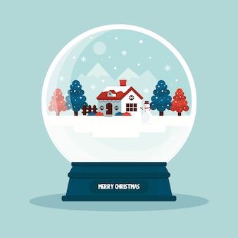 Globo de bola de neve de natal de papel de parede design plano
