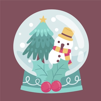 Globo de bola de neve de natal desenhado à mão