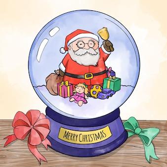 Globo de bola de neve de natal em aquarela com papai noel