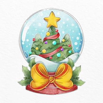 Globo de bola de neve de natal em aquarela