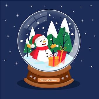 Globo de bola de neve de natal plana