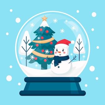 Globo de bola de neve de natal plano com boneco de neve sorridente