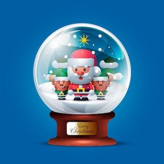 Globo de bola de neve de natal realista