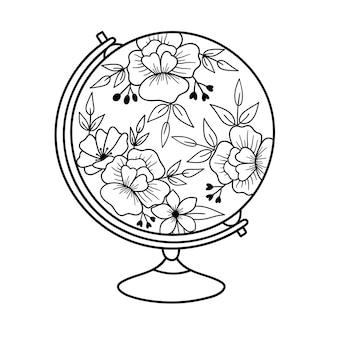 Globo de flores dia da terra conceito de preservação do meio ambiente ilustração em vetor desenhada à mão