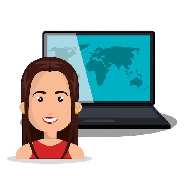 Globo de laptop mulher on-line isolado