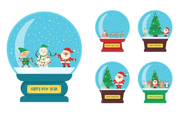 Globo de lembrança de bola de vidro de natal com uma pequena cidade com personagens de inverno dentro de um globo de neve