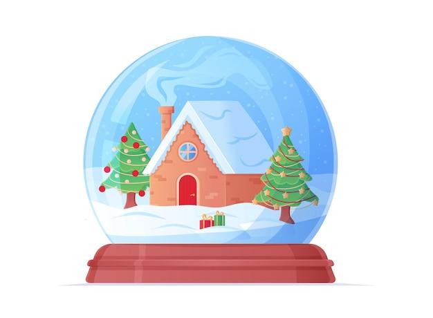 Globo de neve com ilustração de desenho animado de uma casa aconchegante e árvore de natal