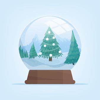 Globo de neve com paisagem de montanhas de inverno e abeto. ilustração em vetor isolada