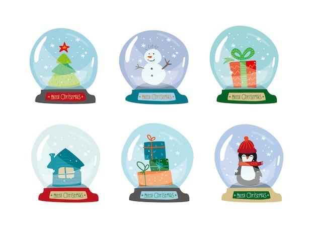 Globo de neve conjunto de natal coleção de natal de bola de neve em estilo doodle de decoração de ano novo desenhada à mão