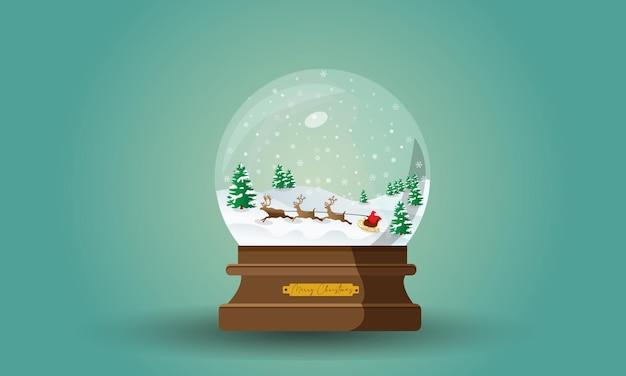 Globo de neve de feliz natal com desenho de papai noel
