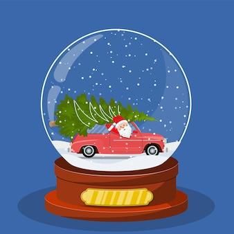 Globo de neve de natal com carro retrô
