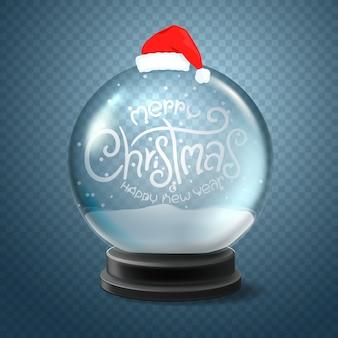 Globo de neve de natal com chapéu de papai noel e inscrição de letras. feliz natal e feliz ano novo