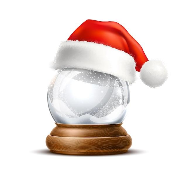 Globo de neve de natal com chapéu de papai noel