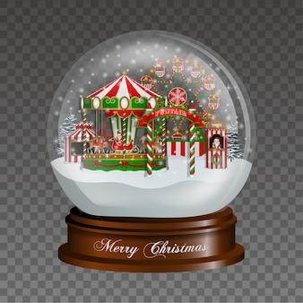 Globo de neve de natal com paisagem de parque de diversões natal luna park