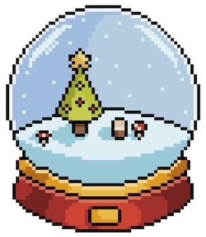 Globo de neve de natal de arte pixel com artigo de árvore de natal para bit de jogo no fundo branco