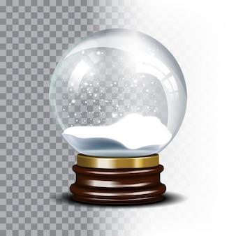 Globo de neve de natal em fundo quadriculado. bola mágica com floco de neve, translúcido brilhante, ilustração vetorial