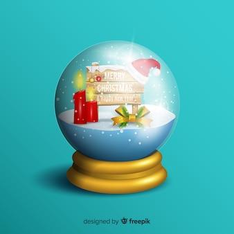 Globo de neve de natal realista