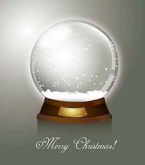Globo de neve de natal sobre fundo cinza vector feliz natal