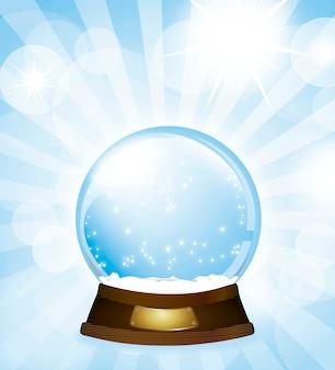 Globo de neve de natal sobre ilustração vetorial de fundo azul