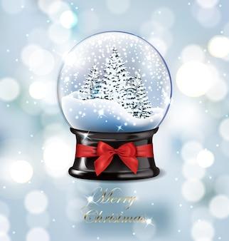 Globo de neve de natal vazio realista de ilustração vetorial; árvores de natal bonitas com neve