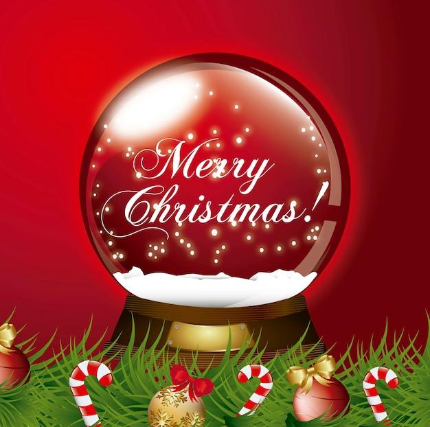 Globo de neve de natal vermelho com ilustração vetorial de festão