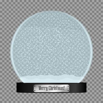 Globo de neve de vidro bola de globo de neve realista com flocos de neve voando isolados em fundo transparente