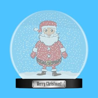 Globo de neve de vidro com papai noel dentro de uma bola de globo de neve realista com flocos de neve voando