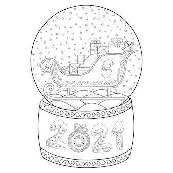 Globo de neve de vidro de brinquedo com trenó de papai noel. rotulando o número 2021. página do livro para colorir.