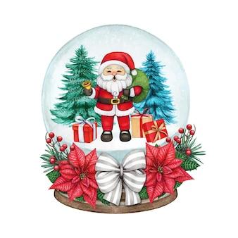 Globo de neve desenhado à mão em aquarela com papai noel alegre e presentes