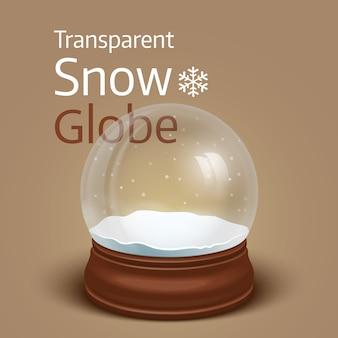 Globo de neve transparente de natal.