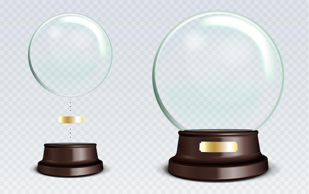 Globo de neve vazio do vetor. esfera de vidro transparente branco em um suporte com metal sign com brilhos e destaques.