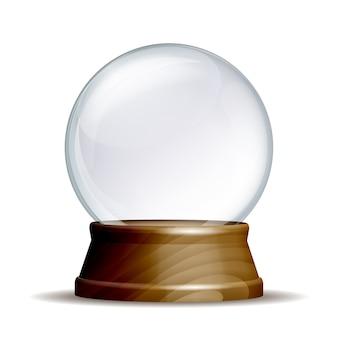 Globo de neve vazio. esfera de vidro mágico em pedestal de madeira, isolado no fundo branco. ilustração