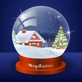 Globo de paisagem de inverno de natal com floresta de casa de neve e árvore de natal dentro de ilustração vetorial