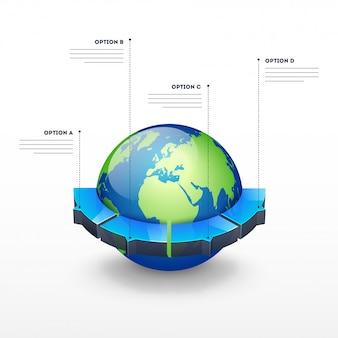 Globo de terra 3d com quatro parte de opção para o modelo de negócios infográfico