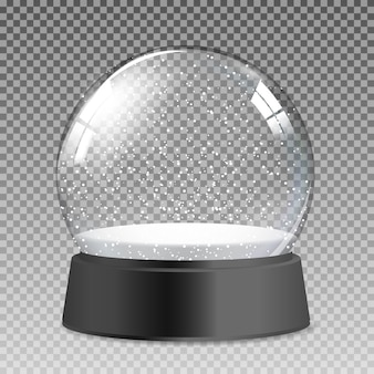 Globo de vidro transparente realista de neve para presente de natal e ano novo. ilustração vetorial