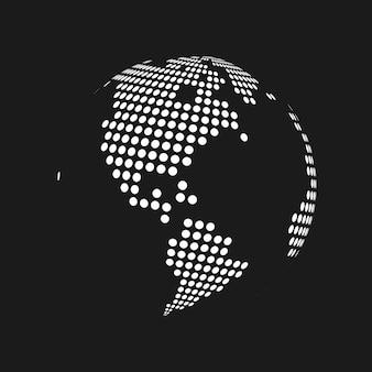 Globo do mapa do mundo da terra 3d pontilhado branco em fundo preto. ilustração vetorial.