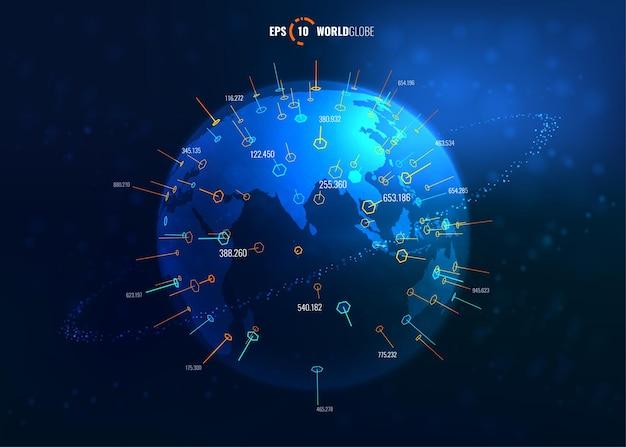 Globo do mundo 3d iluminado com coordenadas. modern sci fi futuristic vector illustration concept