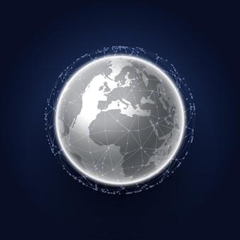 Globo do mundo abstrato e design de comunicações de rede