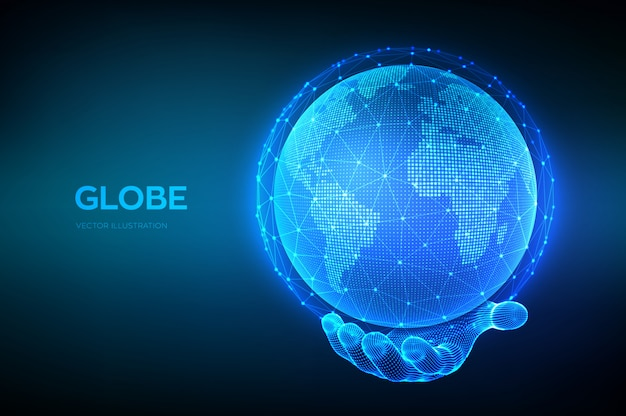 Globo do planeta terra na mão de wireframe.