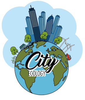 Globo e eco amigável cidade com turbinas eólicas e painel solar sobre fundo branco vector illustra