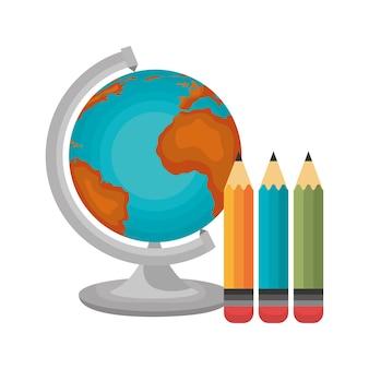 Globo e três lápis
