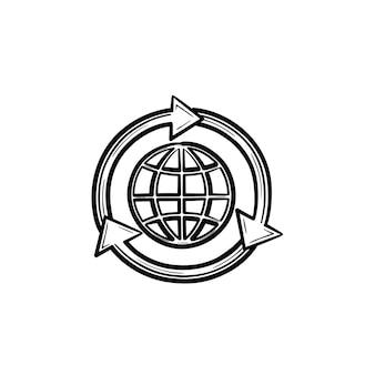 Globo em setas mão desenhada contorno doodle ícone. conceito de ecologia verde. setas girando ao redor da ilustração do esboço do vetor globo para impressão, web, mobile e infográficos isolados no fundo branco.