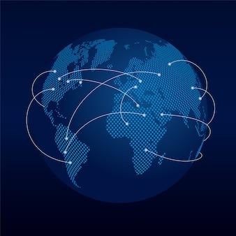 Globo escuro com linhas de conexão